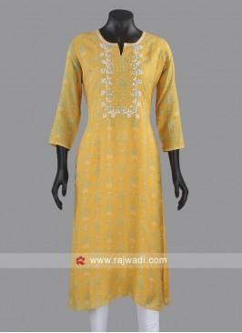 Printed Soft Silk Kurti in Yellow