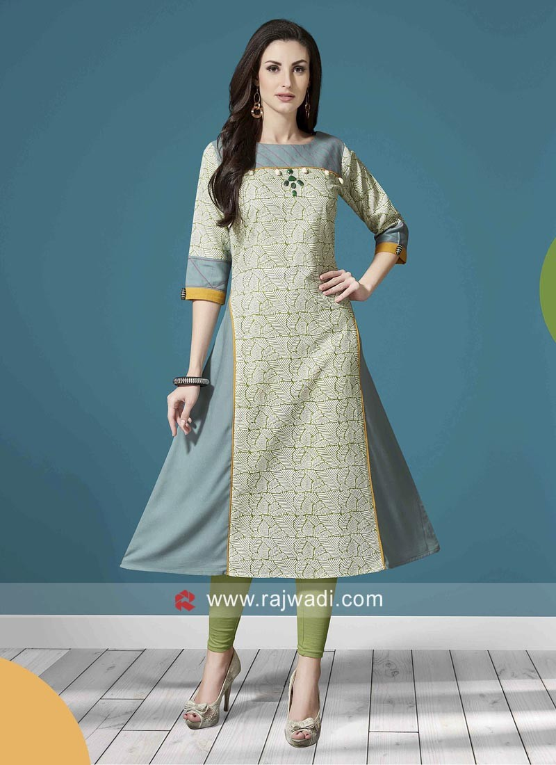 Printed Stitched Kurti with Sleeves