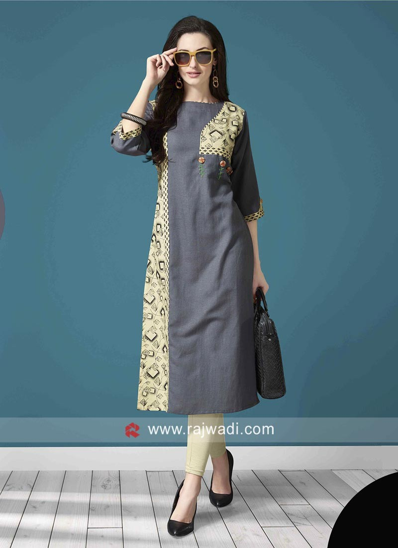 Printed Stitched Straight Fit Kurti