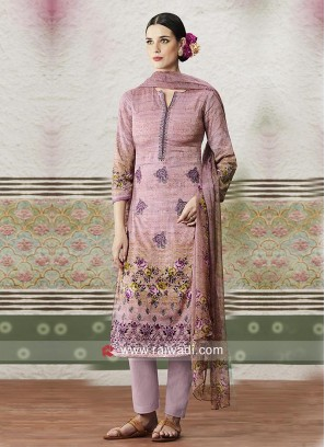 Printed Straight Salwar Suit with Dupatta