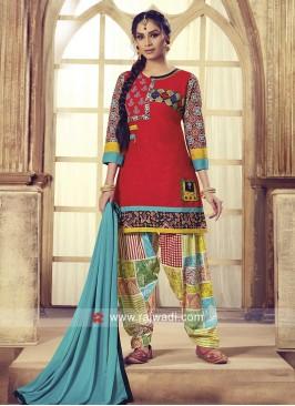 Printed Thread Work Patiala Suit