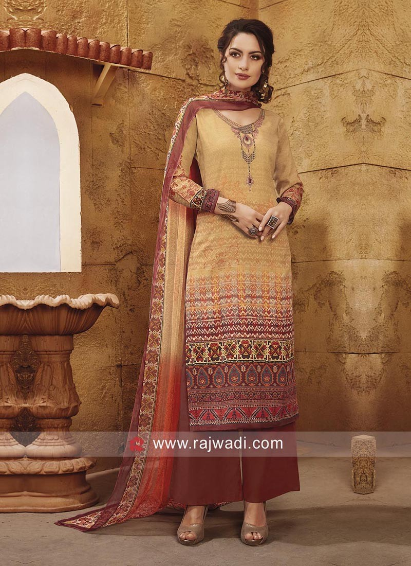 Printed Thread Work Salwar Kameez
