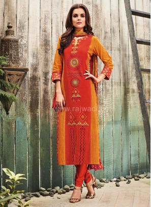 Printed Traditional Cotton Churidar Suit