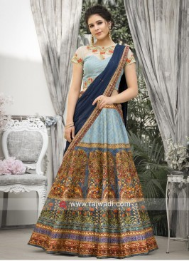 Printed Wedding Banarasi Silk Lehenga Set