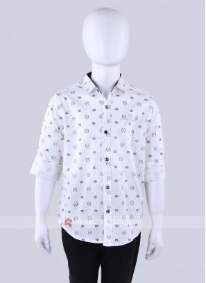 Printed White Casual Shirt