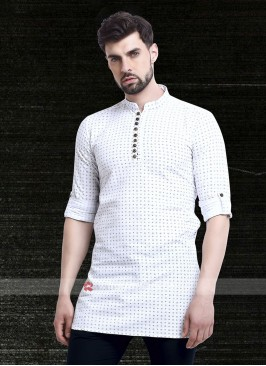 printed white color kurta