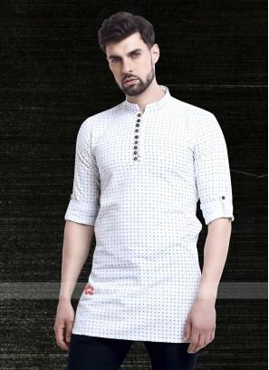 printed white color kurta