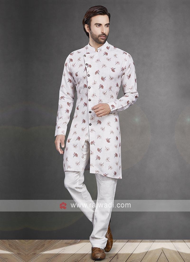 Printed White Color  Kurta Pajama