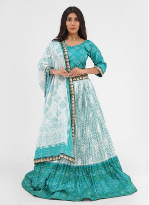Printed Work Choli Suit In Rama Green And White