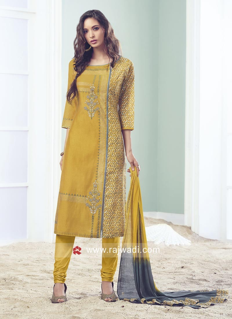 Printed Yellow Churidar Suit with Dupatta