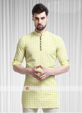 printed yellow color kurta