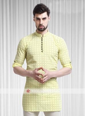 printed yellow color kurta