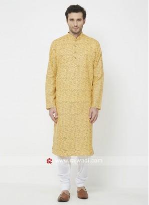 Printed Yellow Kurta Pajama