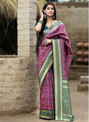 Prominent Banarasi Silk Rani Weaving Traditional Designer Saree