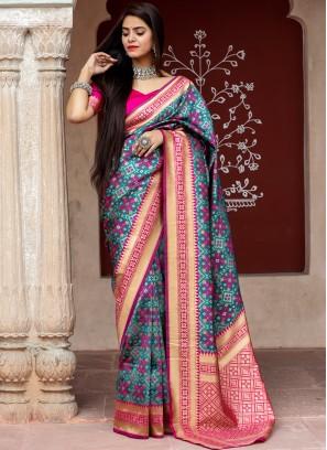 Prominent Grey Weaving Banarasi Silk Designer Traditional Saree