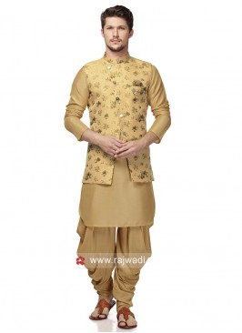 Golden Brocade Silk Indo Western