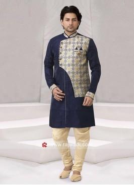 Stylish Art Silk Fabric Blue Indo Western