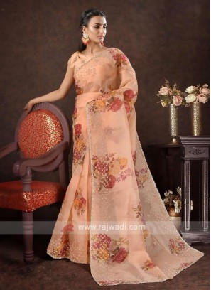 Pure organza saree in orange color