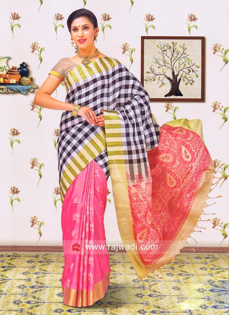 Pure Silk Checks Saree
