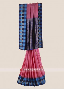 Pure Silk Checks Saree with Blouse