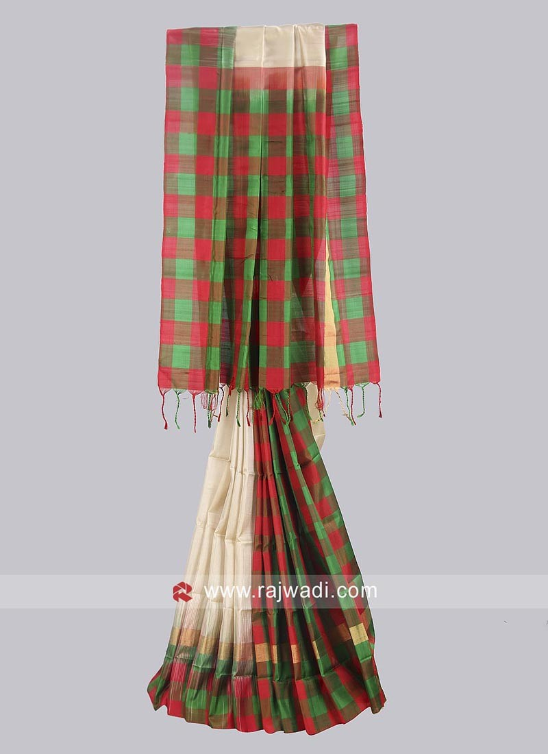 Pure Silk Checks Traditional Saree