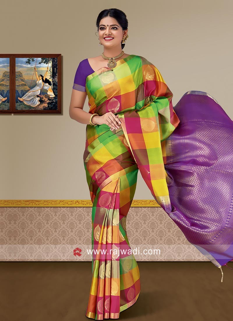 Pure Silk Checks Woven Saree