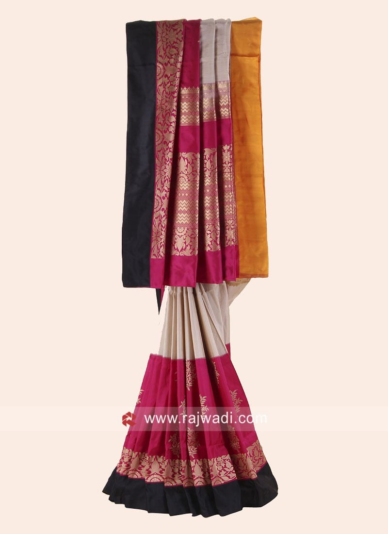 Pure Silk Colorful Saree with Blouse