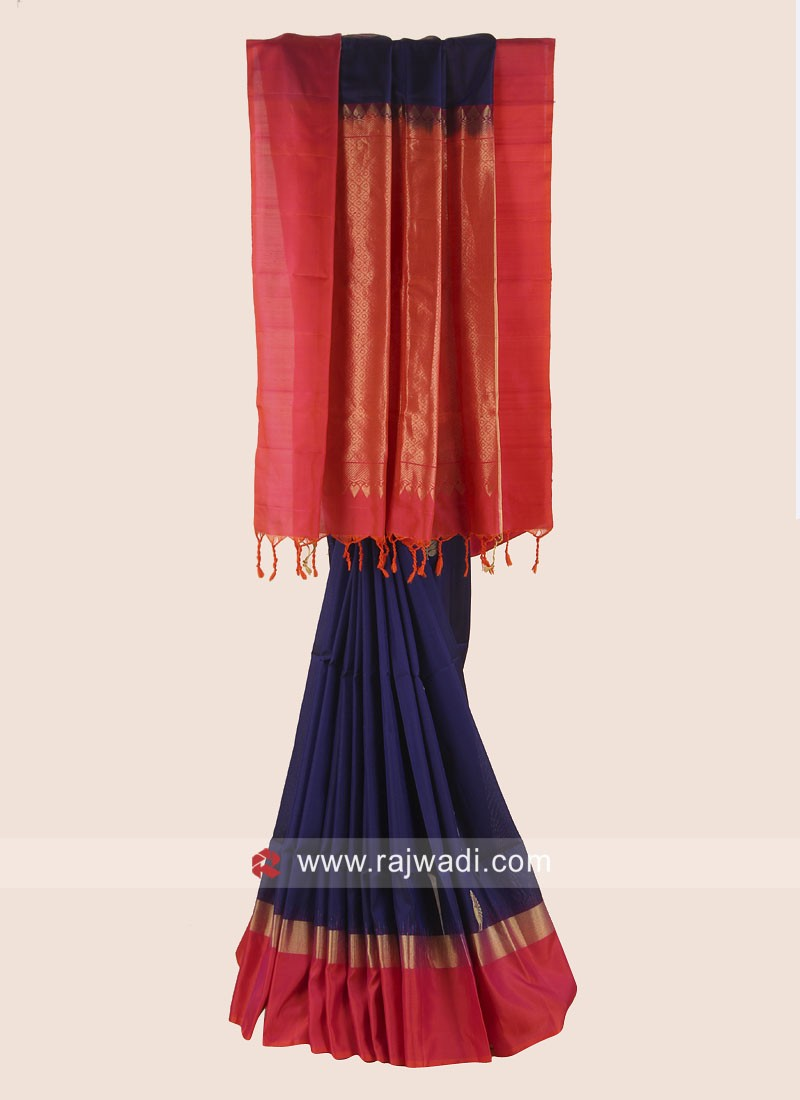Pure Silk Dark Blue and Orange Saree