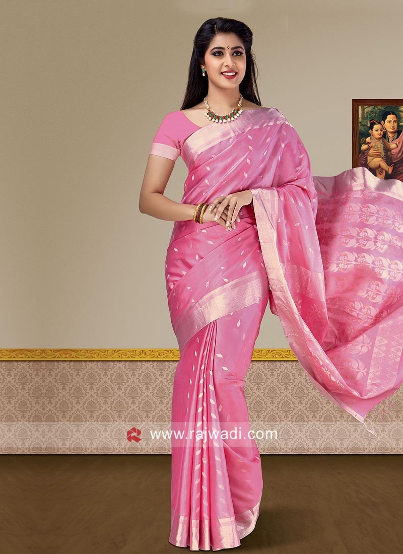 Pure Silk Designer Saree in Pink