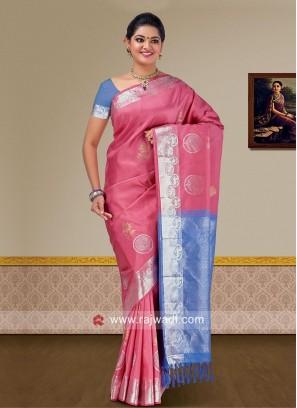 Pure Silk Double Color Woven Saree