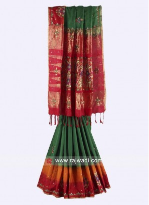 Pure silk Green and maroon color saree