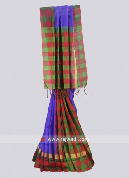 Pure Silk Multicolor Checks Saree