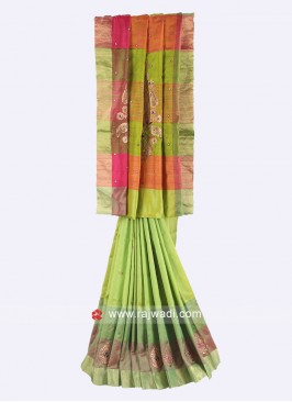 Pure silk parrot green saree