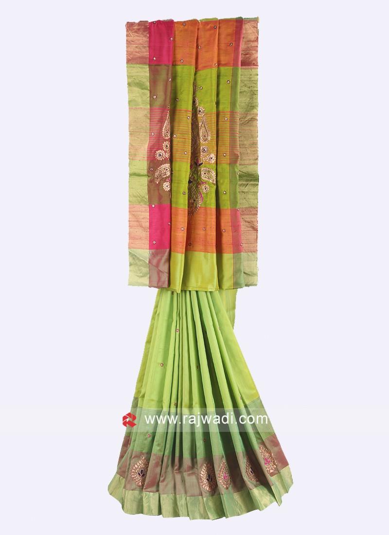 Pure silk parrot green saree