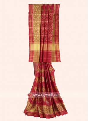 Pure Silk Patola Saree in Maroon