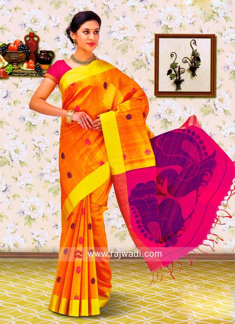 Pure Silk Saree in Dark Gold