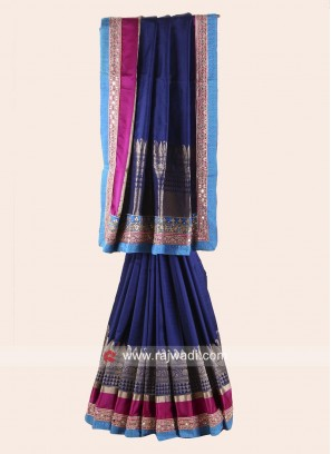 Pure Silk Saree in Navy Blue