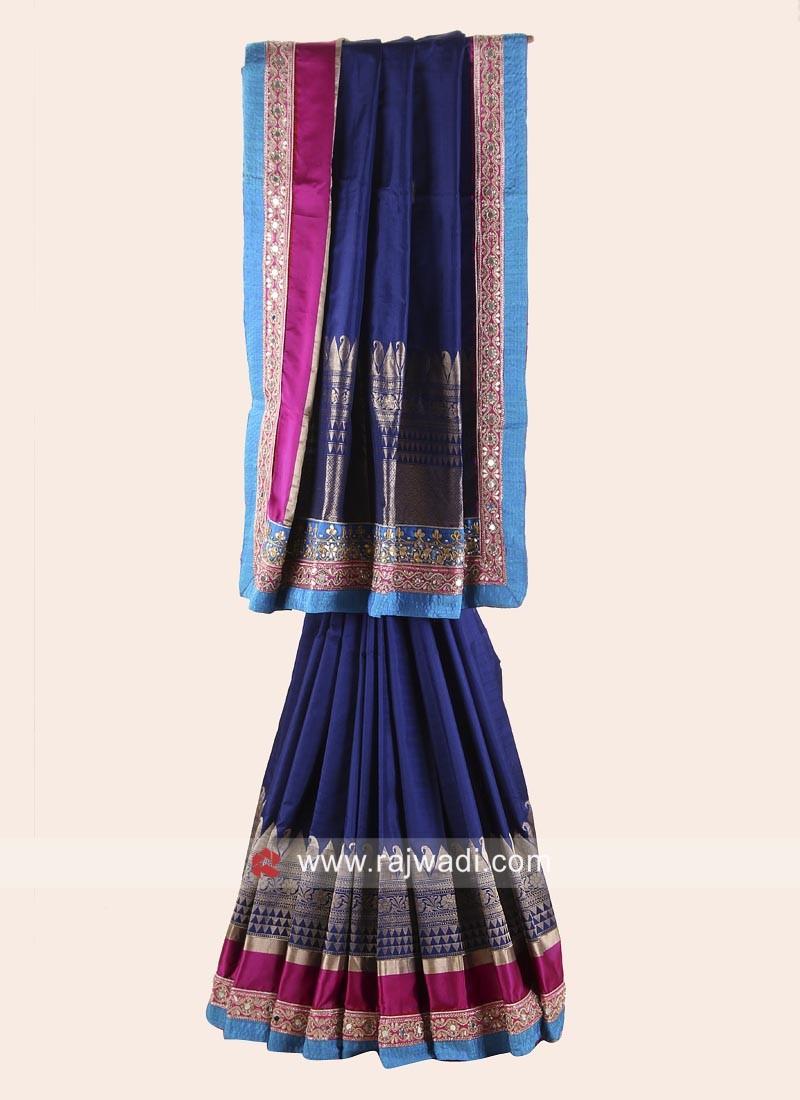 Pure Silk Saree in Navy Blue