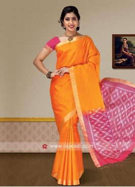 Pure Silk Saree in Orange