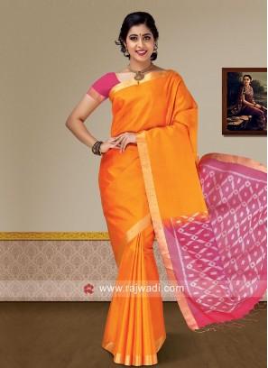 Pure Silk Saree in Orange