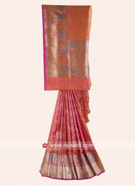 Pure Silk Saree in Peach