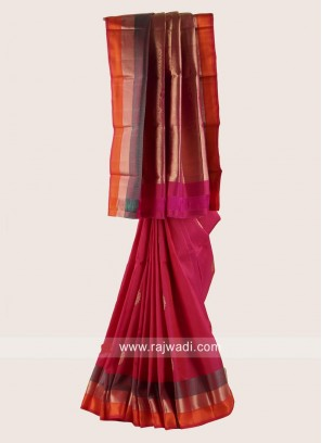 Pure Silk Saree in Rani