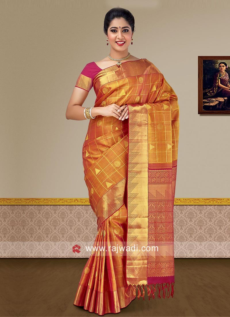 4bcac399433dd4 Pure Silk Saree with Blouse. Tap to expand