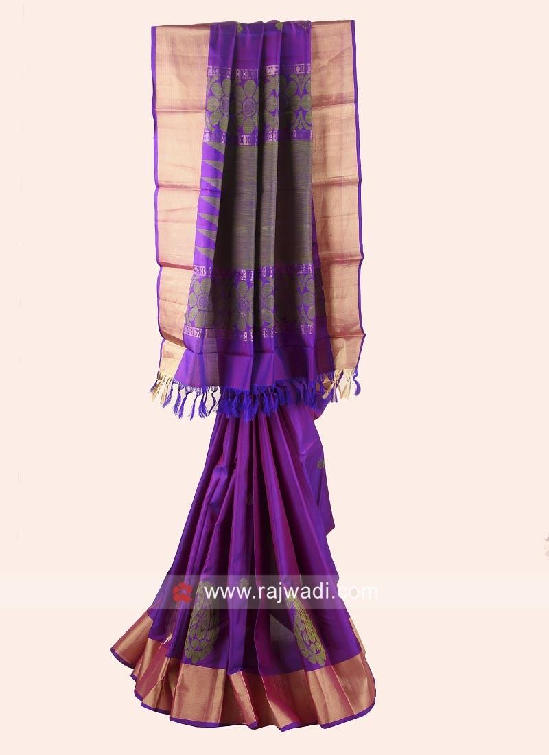 Pure Silk Weaved Saree in Purple