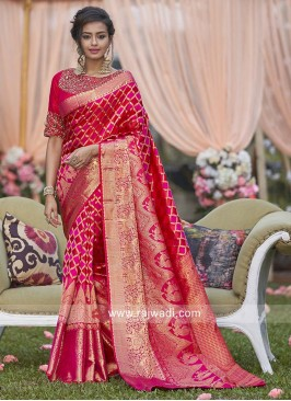Pure Silk Woven Checks Pattern Saree