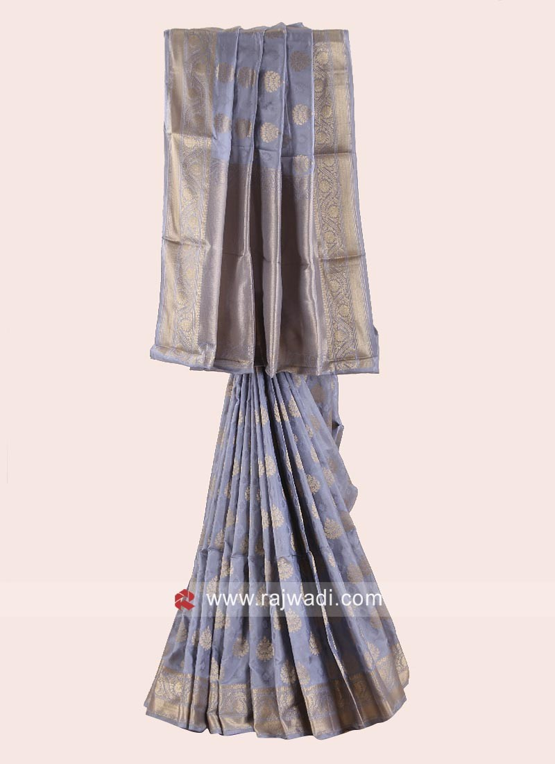 Pure Silk Wedding Designer Saree in Grey