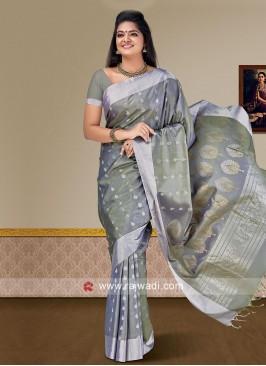 Pure Silk Wedding Saree in Grey