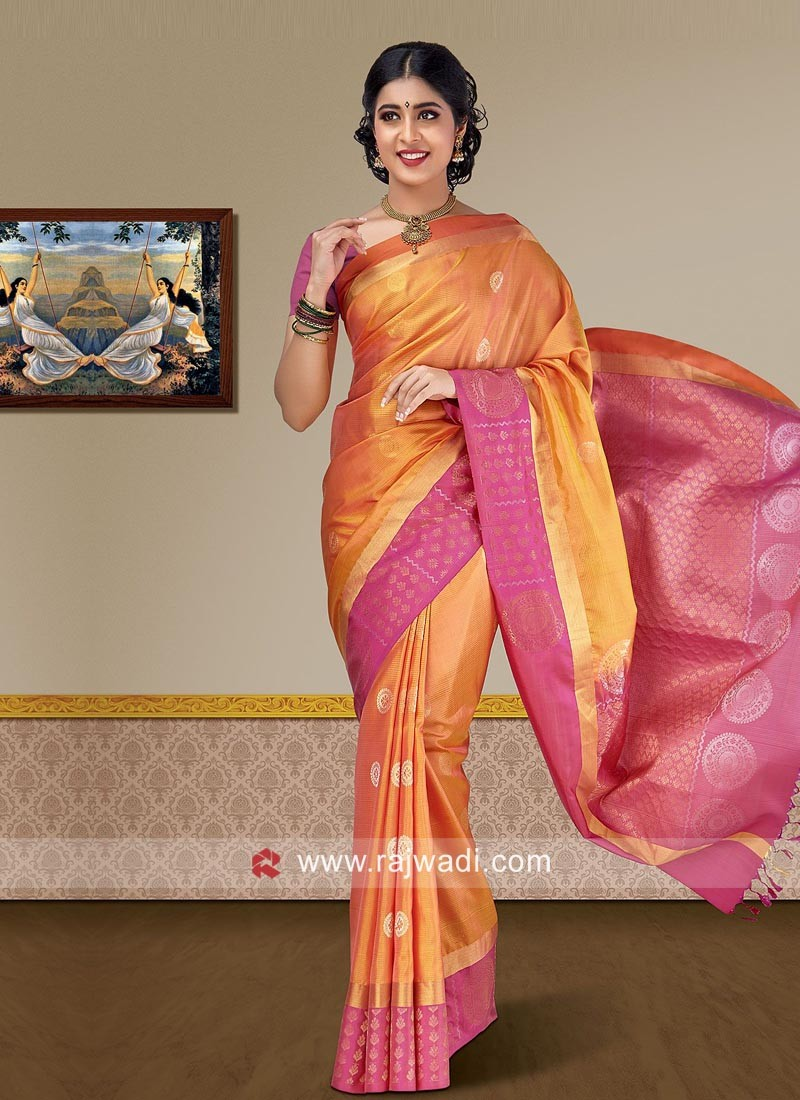d7f23750b3048a Pure Silk Wedding Woven Saree. Hover to zoom