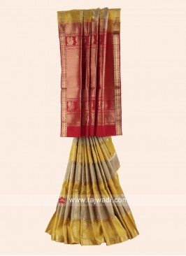Pure Silk Woven Checks Saree