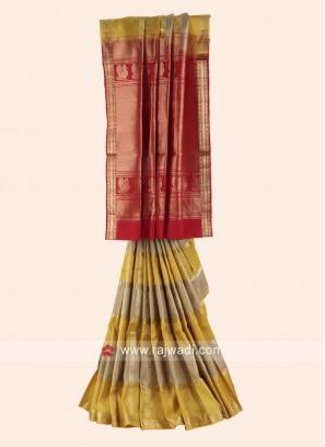 Pure Silk Woven Checks Saree